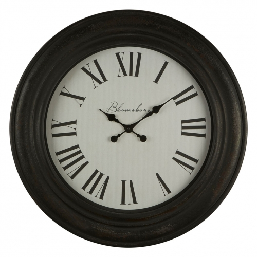 Distressed Black Wood Round Wall Clock