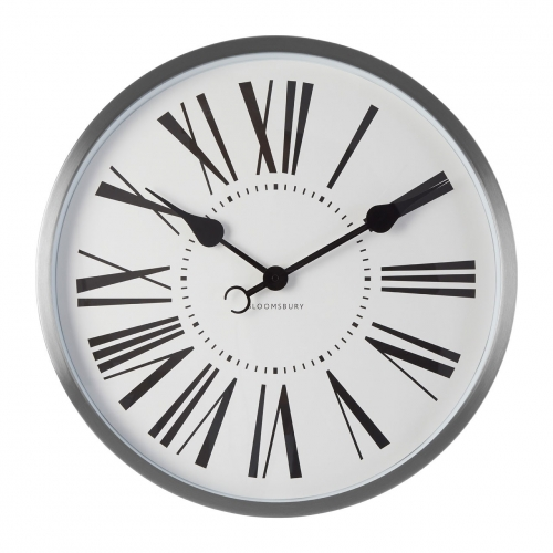 Chrome Wall Clock with White face