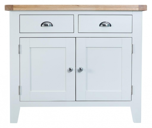 Thornton Painted White with Oak Top 2 Drawer 2 Door Sideboard