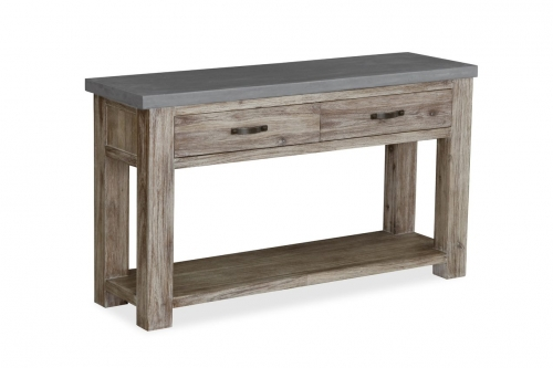 Cleveland Acacia & Concrete Console Table with Drawer