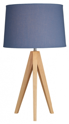 Wooden Tripod Table Lamp Denim