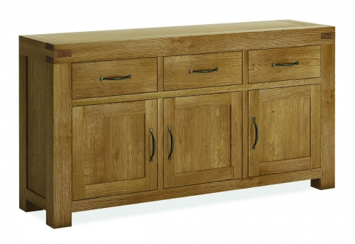 Sutton Rustic Waxed Oak 3 Door 3 Drawer Sideboard