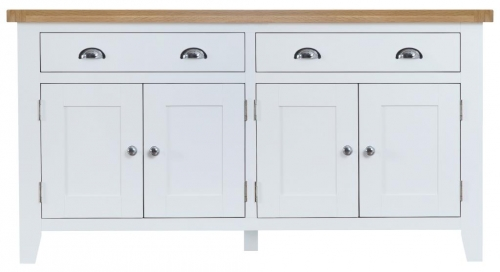 Thornton Painted Oak White 4 Door Sideboard