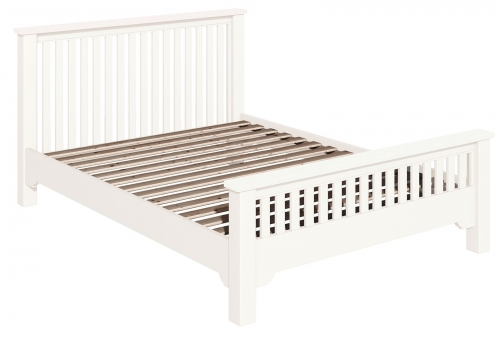 Ascot White 4'6 Double Slatted Bed