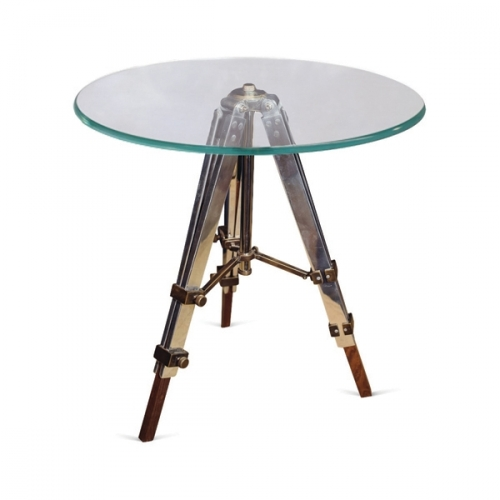 Small Radius Glass Side Table with Adjustable Tripod Legs