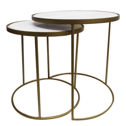 Nest of Two Marble Topped Tables - Gold Finish