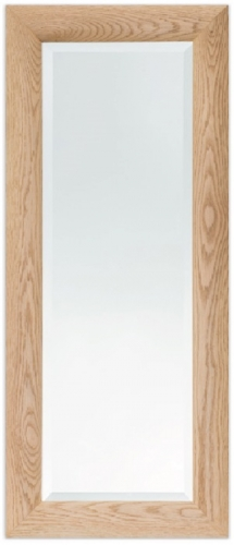 Bevelled Mirror Curved Oak 48 x 12