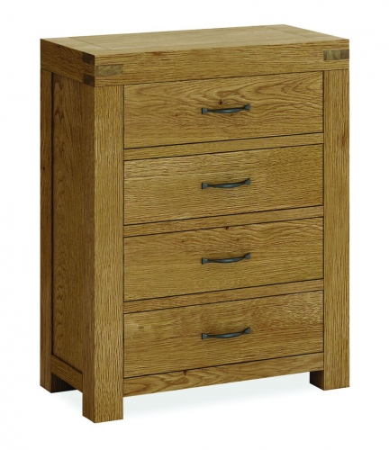 Sutton Rustic Waxed Oak 4 Drawer Chest