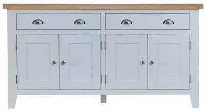 Thornton Painted Grey with Oak Top 4 Door Sideboard