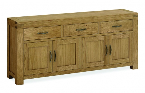 Sutton Rustic Waxed Oak 4 Door 3 Drawer Sideboard