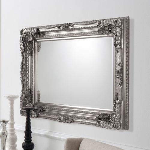 Carved Louis Mirror Silver 120 x 89