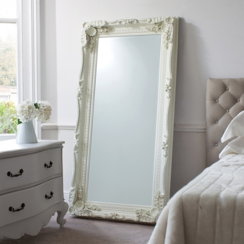 Carved Louis Leaner Mirror Cream 175 x 89