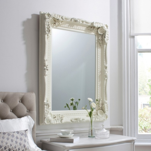 Carved Louis Mirror Cream 120 x 89