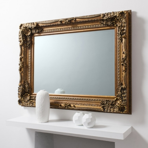 Carved Louis Leaner Mirror Gold 175 x 89