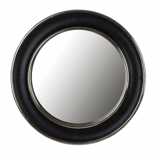 Black Leather finish wall mirror