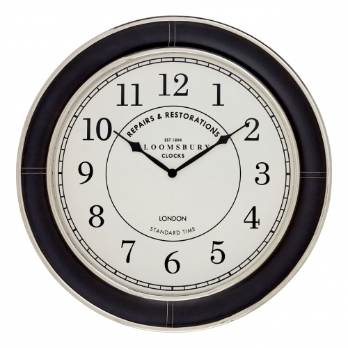 Black Leather Finish Wall Clock