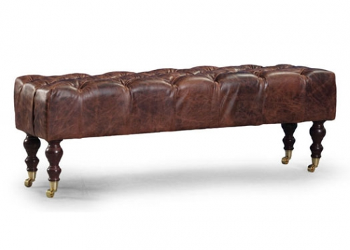 Caesar Leather Bench with Castors