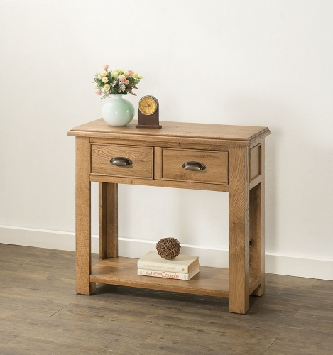 Farnley Solid Oak 2 Drawer Console Table