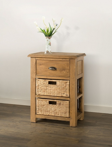 Farnley Solid Oak Small Console With 1 Drawer U0026 2 Baskets