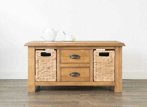 Farnley Solid Oak Coffee Table with 2 Drawers & 2 Baskets