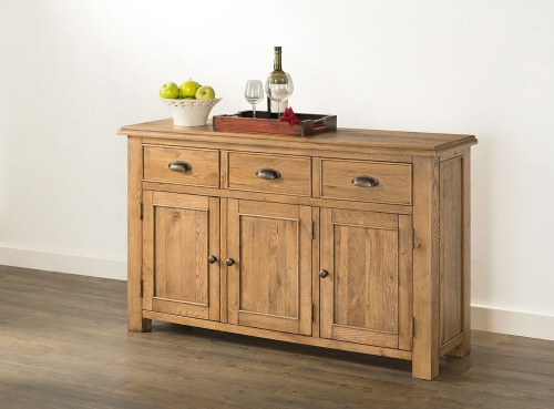Farnley Solid Oak 3 Door Sideboard