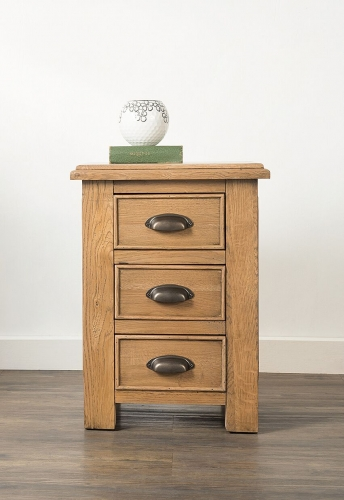 Farnley Solid Oak 3 Drawer Bedside Cabinet