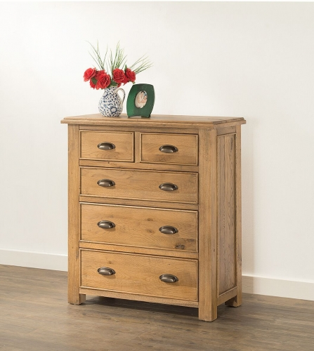 Farnley Solid Oak 2 over 3 Chest of Drawers