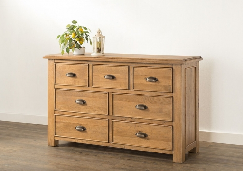 Farnley Solid Oak 3 over 4 Chest of Drawers