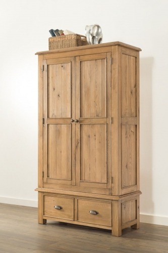 Farnley Solid Oak Double Robe with Drawer
