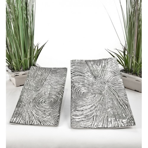 Set of Two Nickel Finished Trays