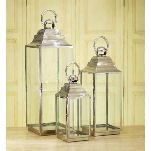 Stainless Steel Medium Glass Lantern