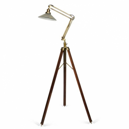 Library Floor Standing Lamp - Antique Brass Finish