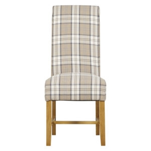 Highgrove Fabric Dining Chair - Latte Check
