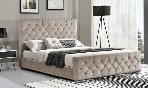Sofia 4ft6 Upholstered Bed - Mink