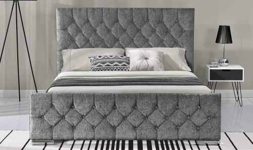 Sofia 5ft Upholstered Bed - Silver