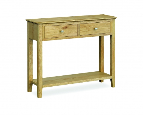 Harome Light Oak 2 Drawer Console Table