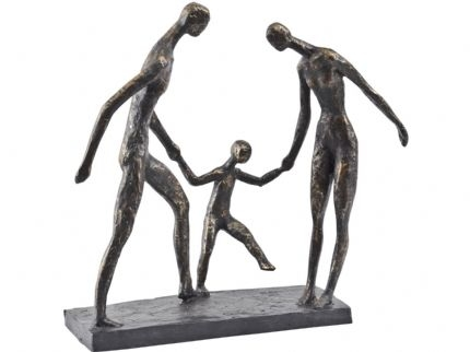 Antique Bronze Famiy of Three Holding Hands Sculpture