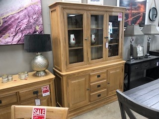 Biarritz French Oak Large Sideboard and Glazed Top