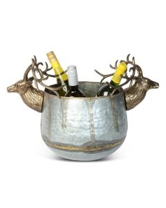 Large Stag Dual Wine Cooler - Antique Silver and Gold Finish