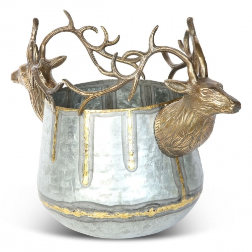 Small Stag Dual Wine Cooler - Antique Silver and Gold Finish