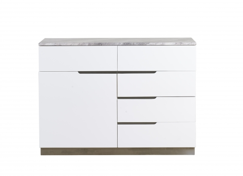 Sicily Marble and Steel Small 1 Door 5 Drawer Sideboard