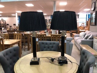 Black Lamp with Pleated Black Shade