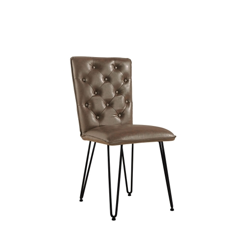 Detroit Industrial Buttoned Back Chair - Brown