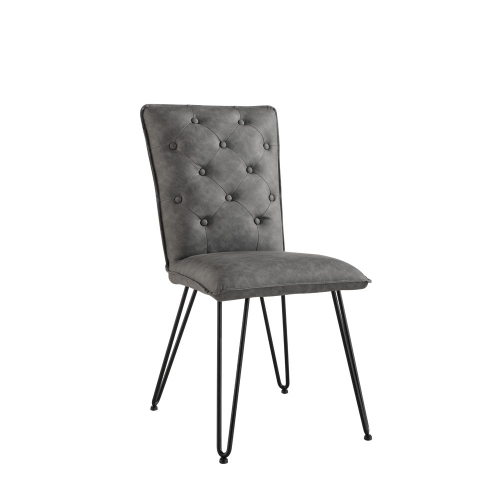 Detroit Industrial Buttoned Back Chair - Grey