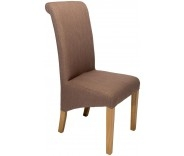 Sorrento Mink Fabric Roll Back Dining Chair