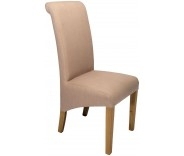 Sorrento Putty Fabric Roll Back Dining Chair