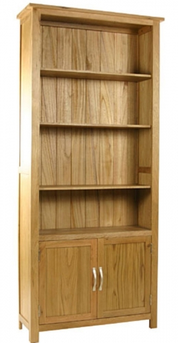 Malvern Oak Tall Bookcase with Cupboard