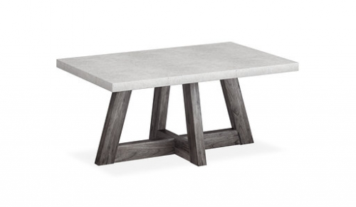 Boulder Contemporary Acacia with A Concrete Top Coffee Table