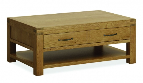 Sutton Rustic Waxed Oak Coffee Table with Drawer