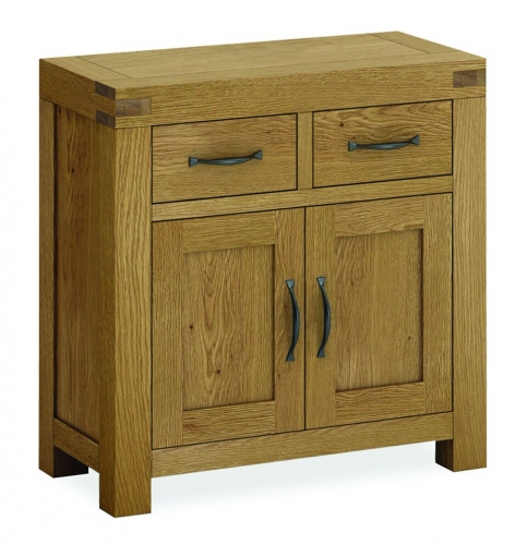 Sutton Rustic Waxed Oak Compact 2 Door 2 Drawer Sideboard